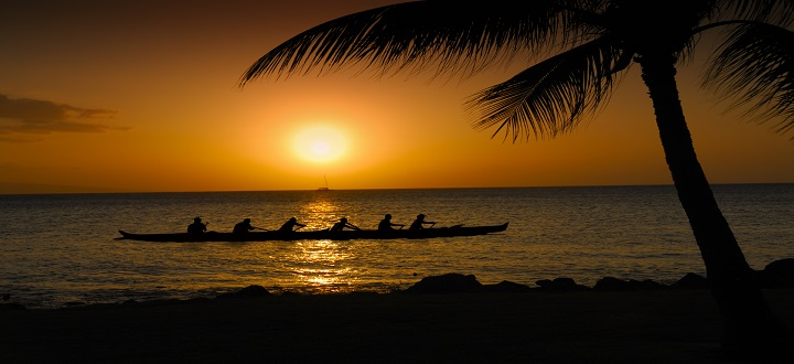Rowing In A Hawaiian Sunset Sunset
