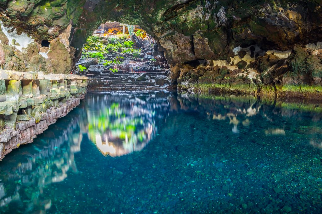 Beautiful cave in Jameos del Agua, Lanzarote, Canary Islands, Spain
